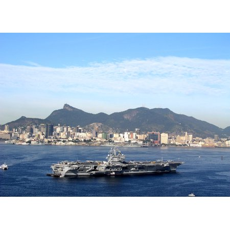 LAMINATED POSTER USS Ronald Reagan (CVN 76) sits anchored at Guanabara Bay in Rio de Janeiro, Brazil, it's first f Poster Print 24 x