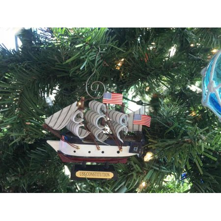 Wooden USS Constitution Tall Model Ship Christmas Ornament 4