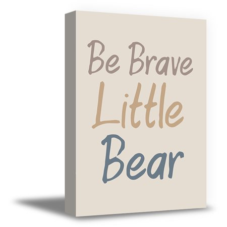 Awkward Styles Be Brave Little Bear Funny Quotes for Children Framed Art Cute Girls Room Wall Art Motivational Quotes Art for Kids Be Brave Little Bear Canvas Poster Decor Baby - Boy Baby Room Ideas