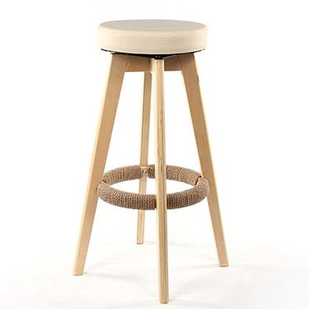 Natural Wood Rotatable Bar Stool Chair Barstool with PU Leather Cushion Seat and Long Leg