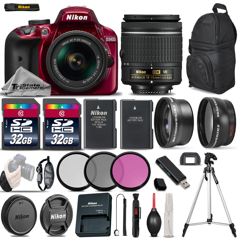 Nikon D3400 Digital SLR Camera +3 Lens 18-55mm VR + 64GB