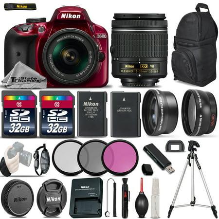 Vr Lens Digital Camo (Nikon D3400 Digital SLR Camera +3 Lens 18-55mm VR + 64GB -Great Saving Full Kit)