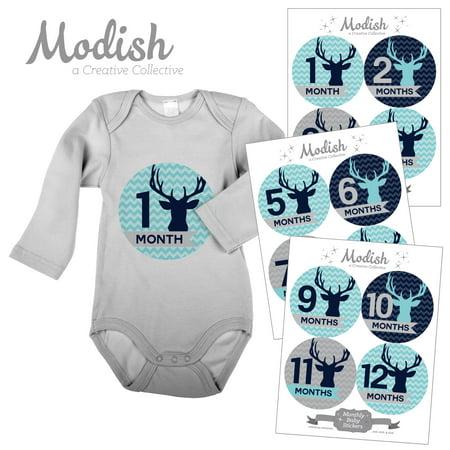 Monthly Baby Stickers, Boy, Deer, Antlers, Woodland, Aqua, Navy Blue, Baby Photo Prop, Baby Shower Gift, Baby Book Keepsake, Modish - Baby Blue Baby