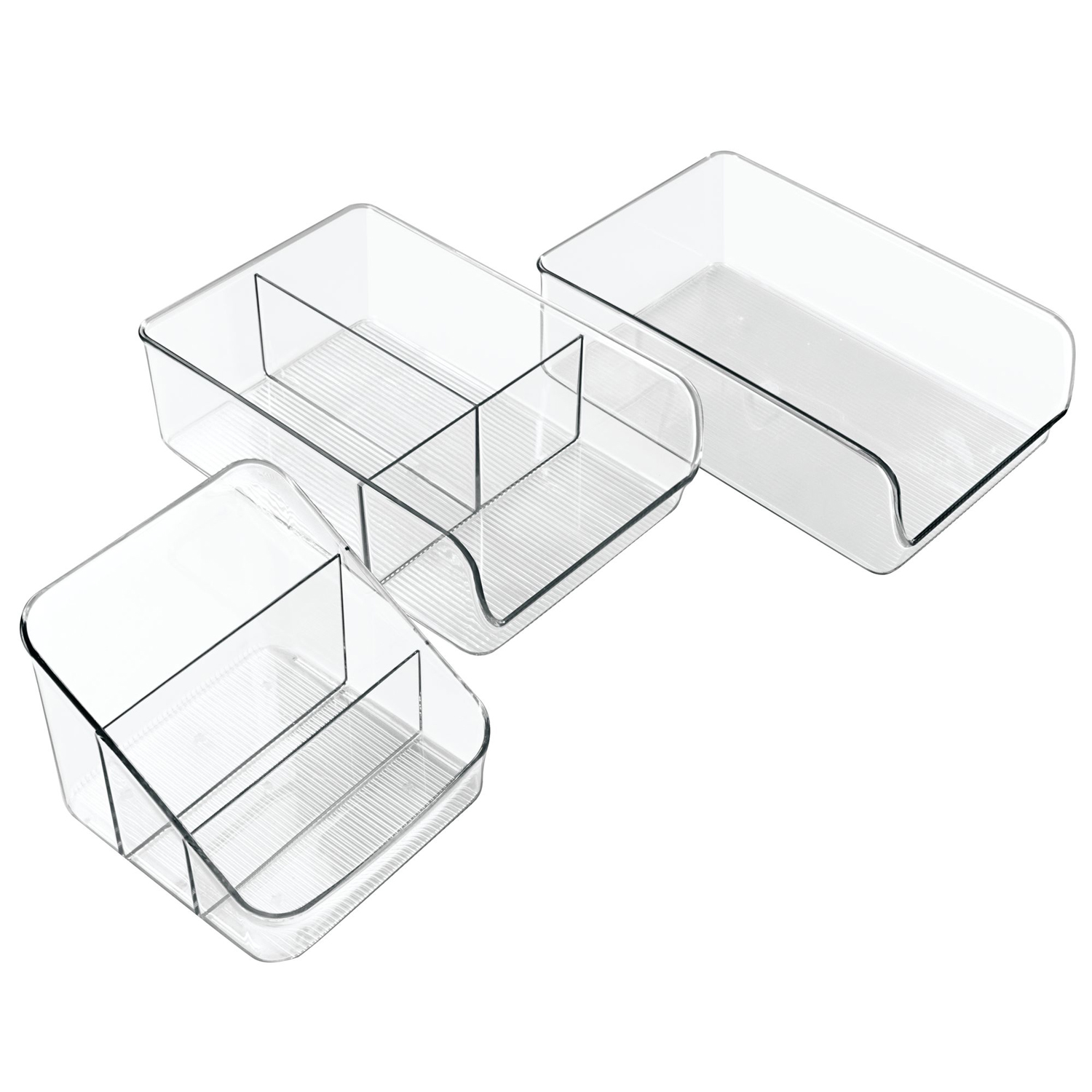 InterDesign Kitchen Storage and Organization Bins, Set of 3, Clear