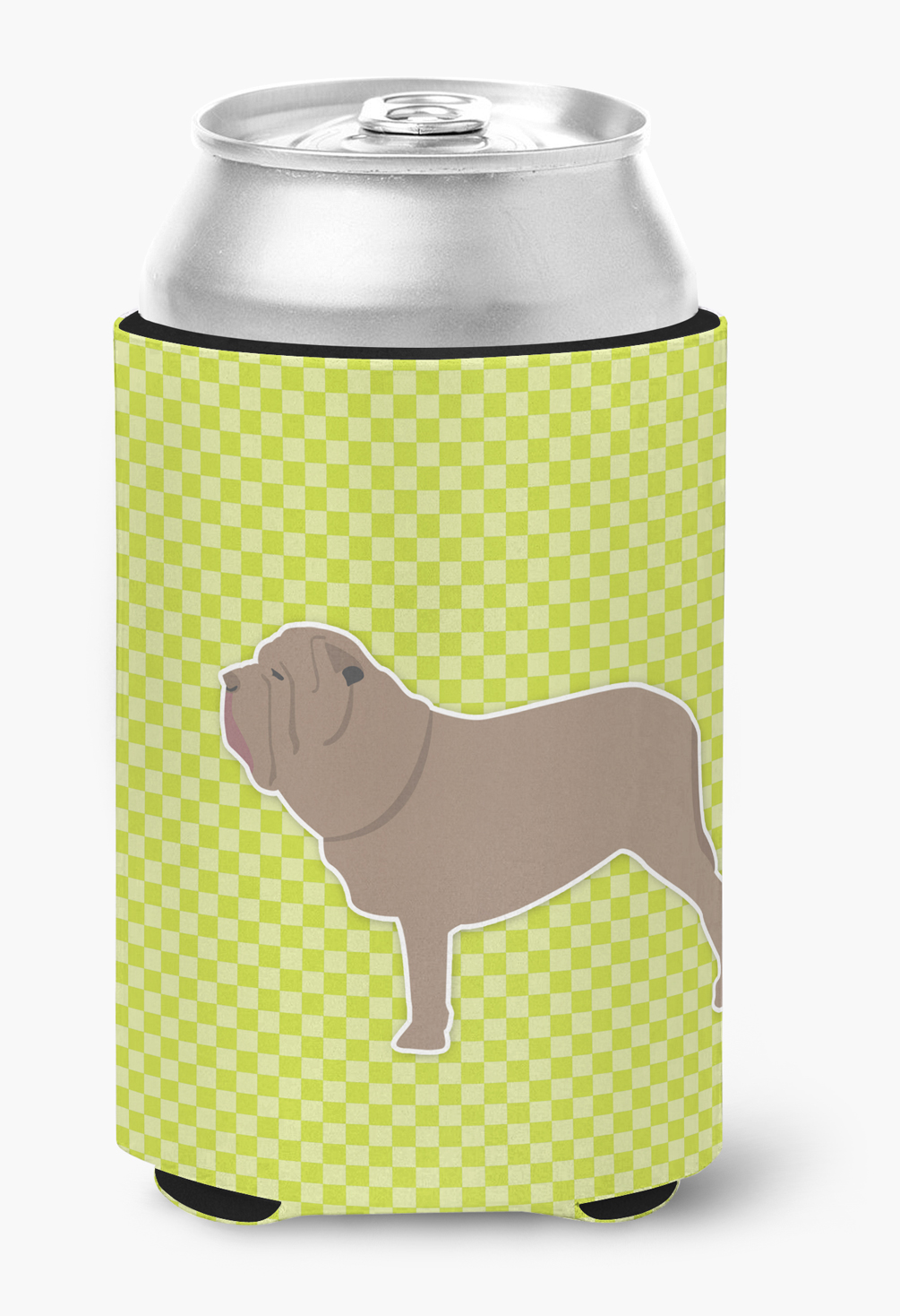 Neapolitan Mastiff Checkerboard Green Can or Bottle Hugger by Caroline's Treasures