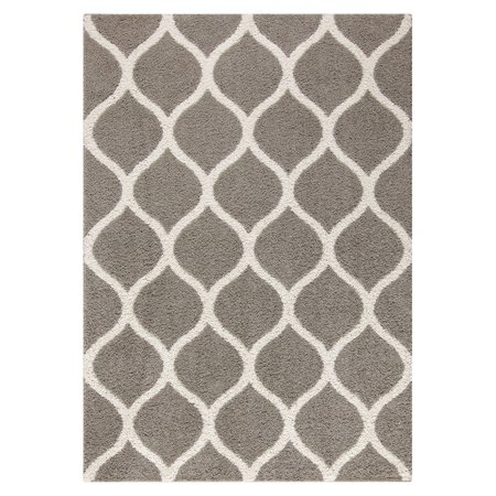 Mainstays Ogee 2-Color Textured Olefin Shag Area Rug and Runner, Greystone, 5' x 7' ()