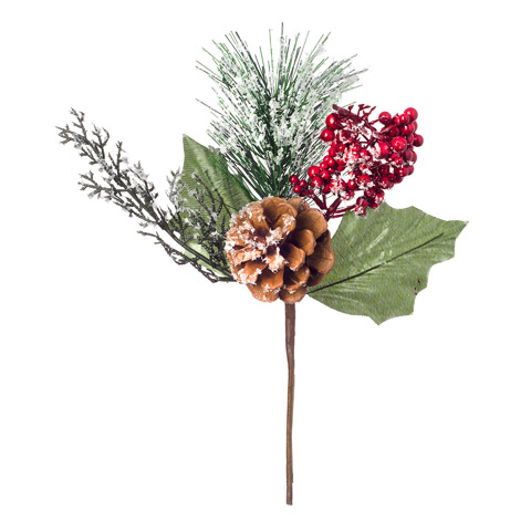 Darice Christmas Snow Pick Pinecone and Berry Red 2.76 X 9 Inches