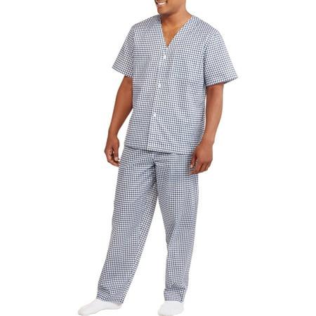 (Big Men's Short Sleeve Long Length Pant Print Pajama)