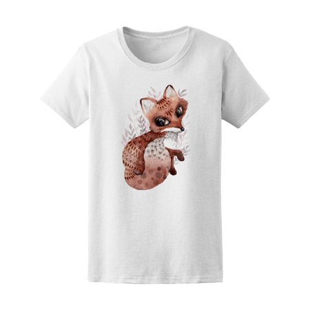 Boho Watercolor Fox With Bird Tee Women's -Image by Shutterstock