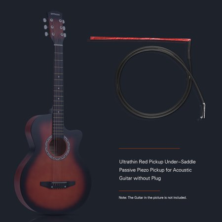 Ultrathin Red Pickup Under-Saddle Passive Piezo Film Pickup for Acoustic Guitar without Plug