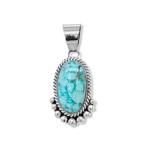 Nickel Free Artist Signed Southwest Jewelry Native American USA Handmade Genuine Turquoise Mountain Turquoise Pendant Sterling Silver