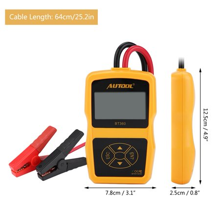 HURRISE 12V BT-360 Automotive Load Battery System Tester Digital Analyzer Cell Test Tool Multi-language, Battery Load Tester, Car Battery Tester Analyzer - image 1 of 7