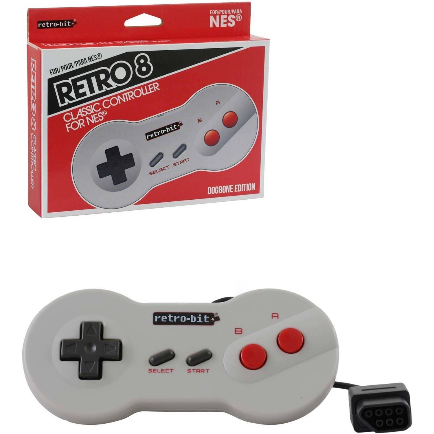 Retro-Bit rb-nes-0959 NES Classic Controller, Wired, Dogbone Grey