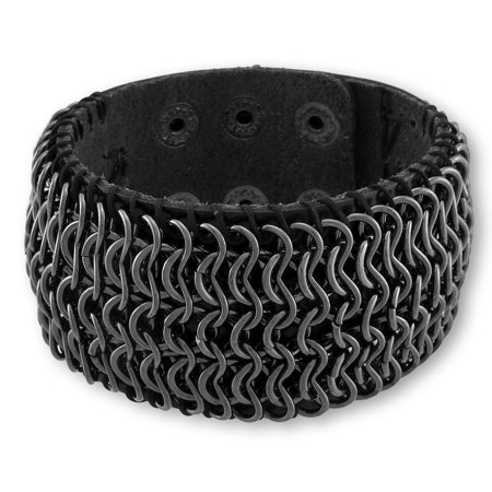 Black Bonded Leather Chainmail Bracelet Wristband