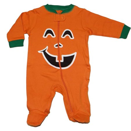infant boys halloween sleeper orange cotton pumpkin sleep play