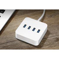 USB Hub Data Hub with USB3.0 5Gbps 200M/s Power Adapter Charging Port for Charging Ports for iPhone 7, 6s Plus, iPad Air 2, Galaxy Series and More White FXQ-CR118-W