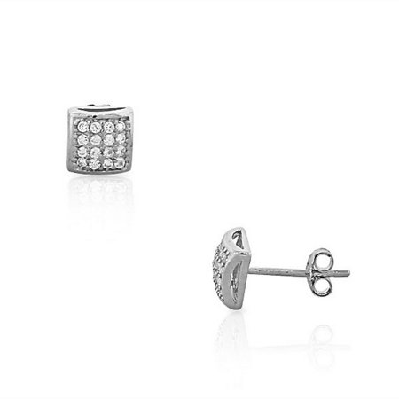 925 Sterling Silver White CZ Cushion Square Classic Stud Earrings Cubic Zirconia Cushion Earrings