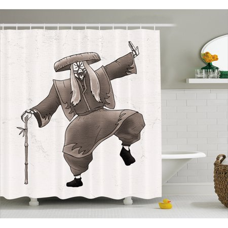 70's Makeup Styles (Kabuki Mask Decoration Shower Curtain, Orient Style Artist with Makeup and Costume Pose Dance Ancient Art, Fabric Bathroom Set with Hooks, 69W X 70L Inches, Umber White, by)