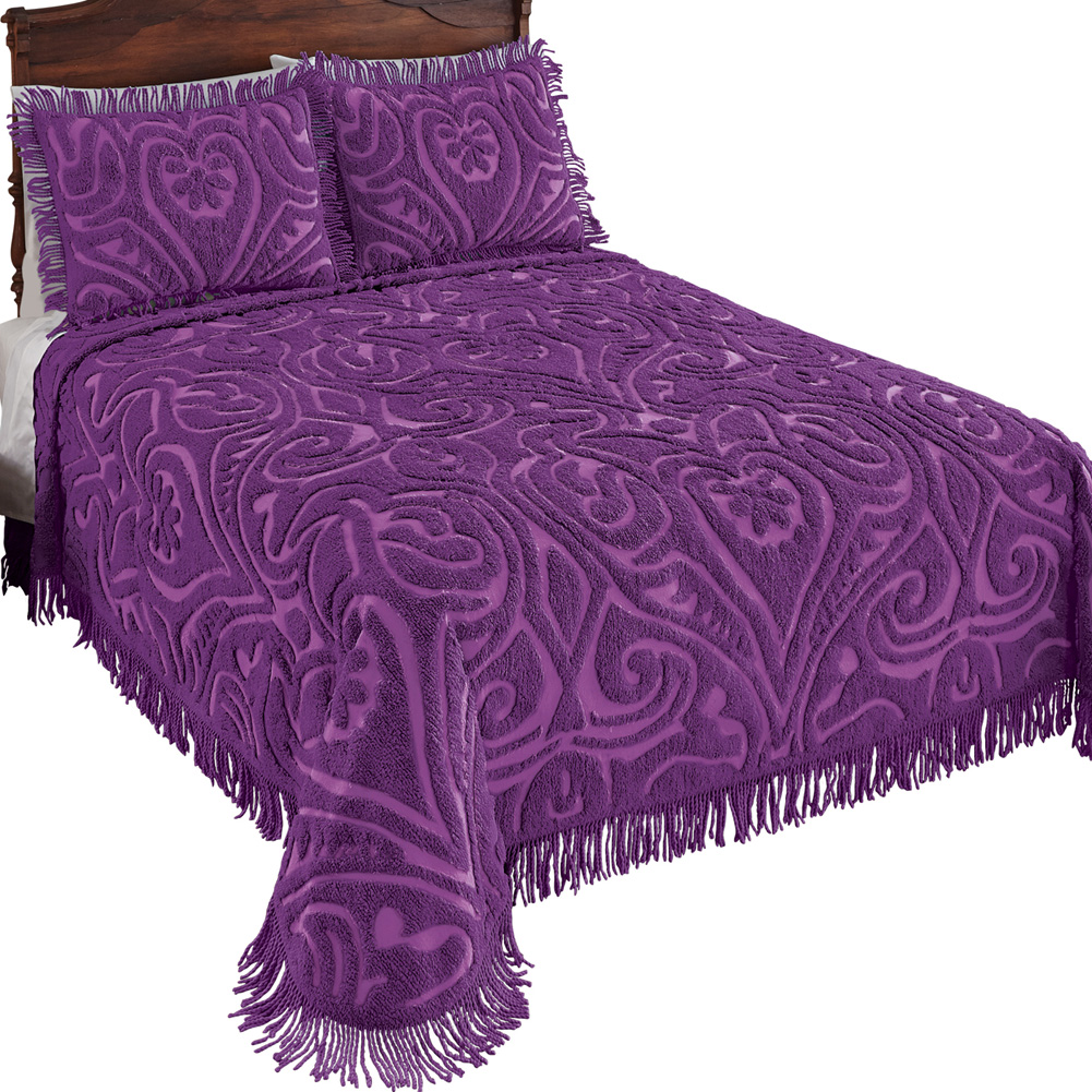 100% Cotton Elegant Parkside Plush Scroll Chenille Bedspread Bedding with Fringe Trim, King, Violet