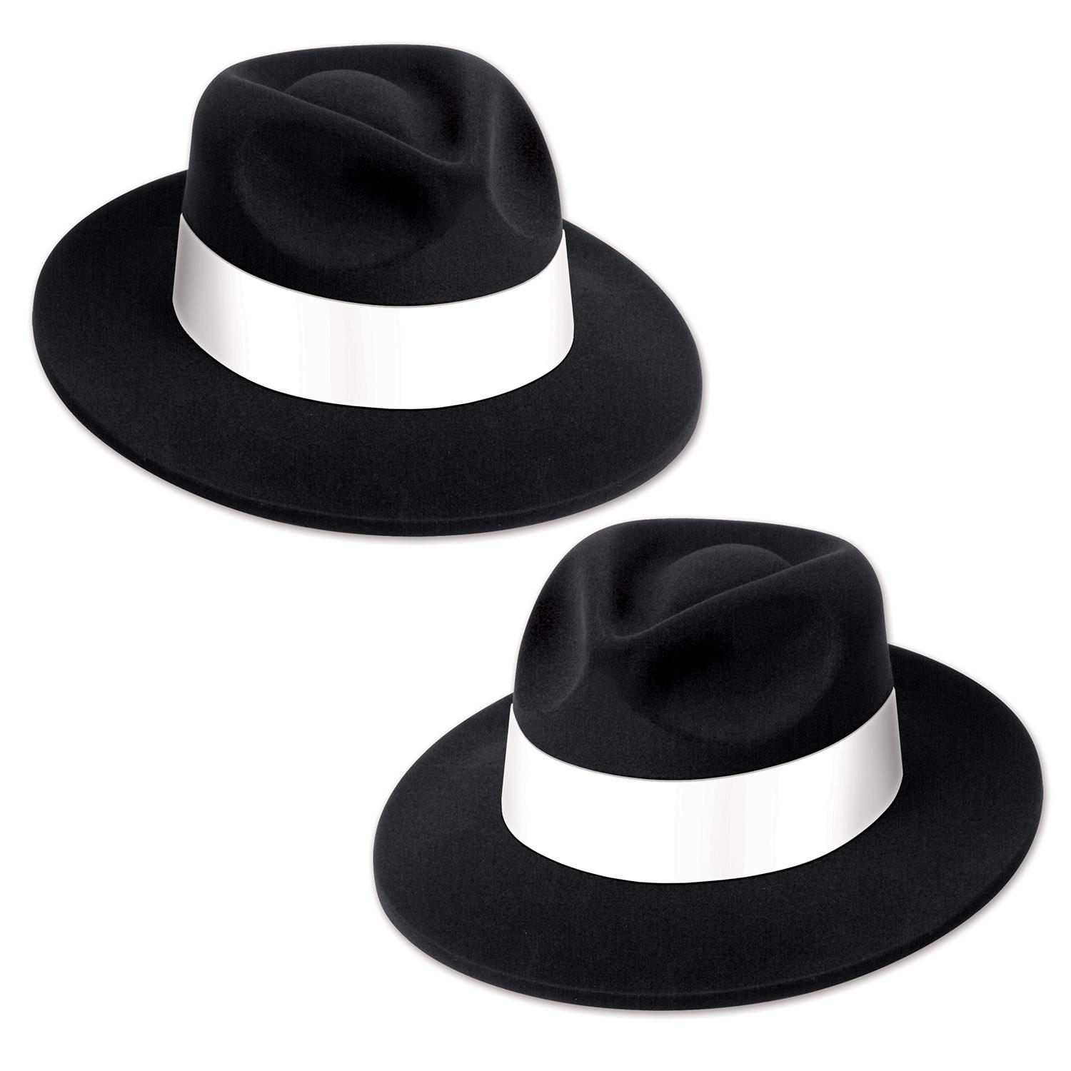 Club Pack of 25 Black 20's Velour Fedora with White Band 5""