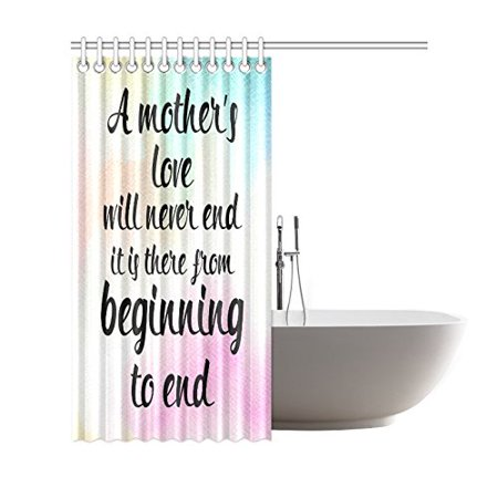 GCKG Watercolor Love Quote Shower Curtain, Happy Mother's Day Polyester Fabric Shower Curtain Bathroom Sets 66x72 Inches - image 1 of 3