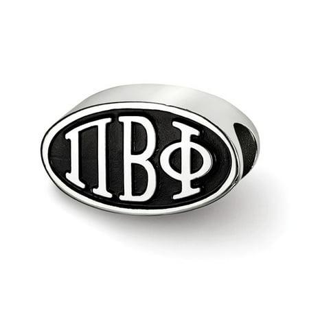 Sterling Silver LogoArt Official Licensed Greek Sororities 15.25MM Pi Beta Phi (???) OVAL LETTERS BEAD ()