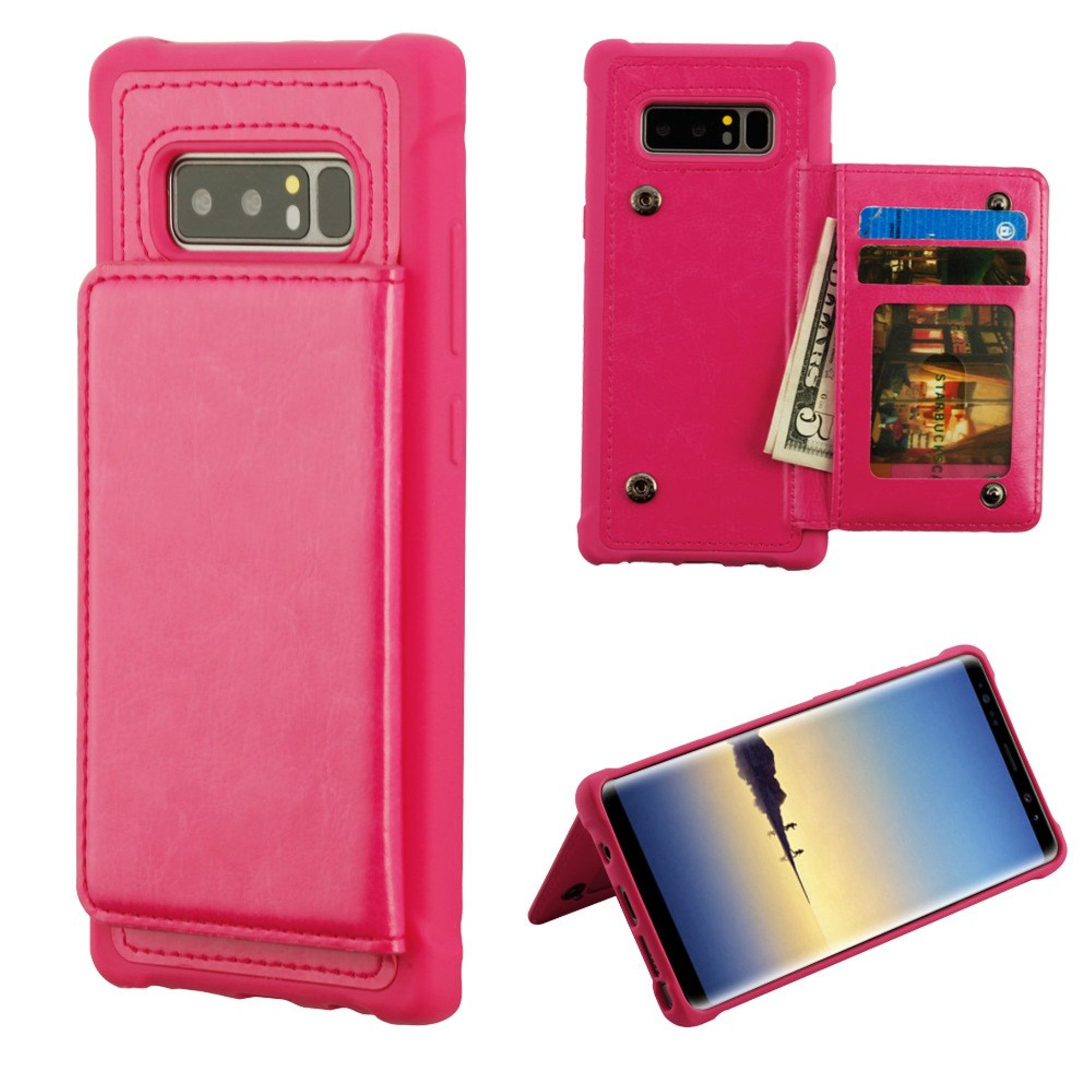 MyBat Executive Protector Stand Leather [Card Holder Slot] Wallet Pouch Case Cover For Samsung Galaxy Note 8, Hot Pink