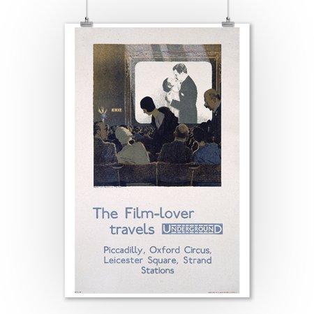 London Underground - The film - lover Vintage Poster (artist: Pears) England c. 1930 (9x12 Art Print, Wall Decor Travel Poster) - Halloween London Underground