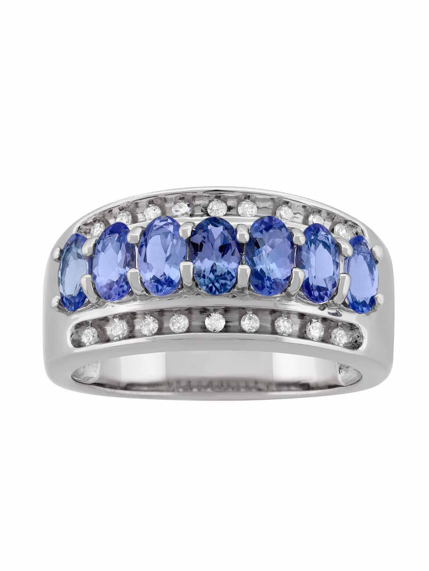 .14 Carat T.W. Diamond and Tanzanite Sterling Silver Oval Ring by Helen Andrews Inc.