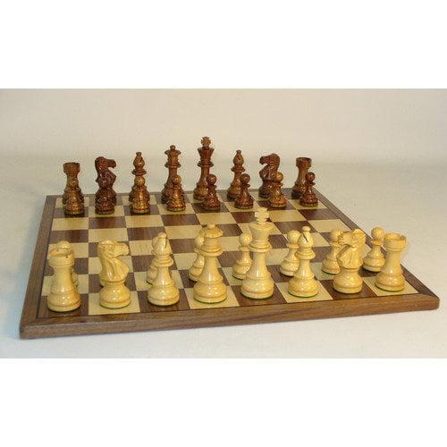 WorldWise Chess Sheesham Lardy Classic on Walnut Chess Board