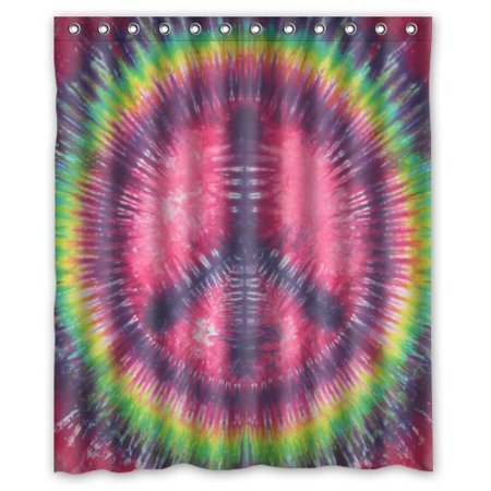 Deyou Peace Sign Tie Dye Shower Curtain Polyester Fabric Bathroom Size 60x72 Inches