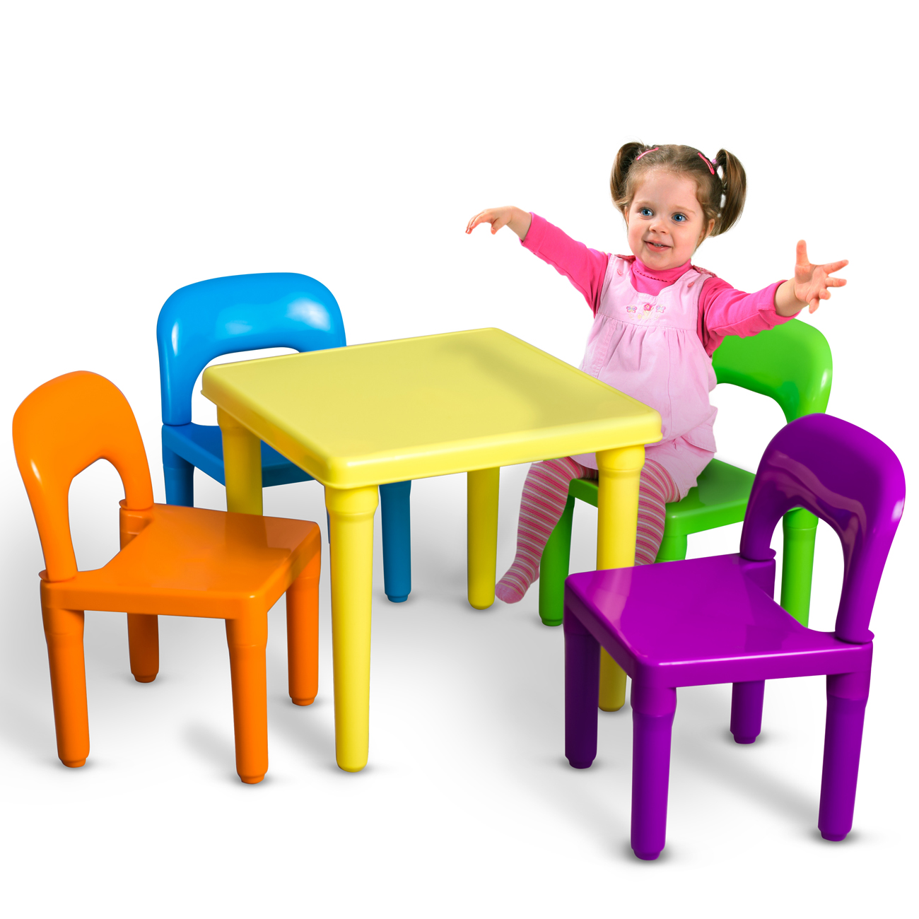 Den Haven Kids Table and Chairs Play Set Colorful Child Toy