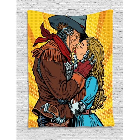 Western Decor Tapestry, Steampunk Robots Western Style Cowboy Kisses the Girl Illustration, Wall Hanging for Bedroom Living Room Dorm Decor, 40W X 60L Inches, Yellow and Brown, by Ambesonne (Western Cowboy Decor)