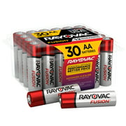 Rayovac Fusion AA Batteries (30 Pack), Double A Alkaline Batteries
