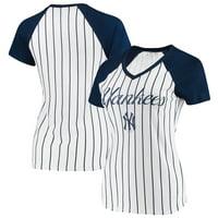New York Yankees Concepts Sport Women's Vigor Pinstripe T-Shirt - White/Navy
