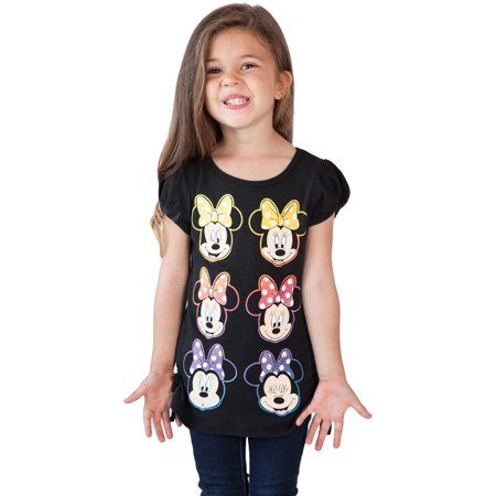 Girls Minnie Mouse Smiles Side-Tie T-Shirt Black