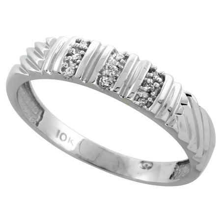 10k White Gold Mens Diamond Wedding Band Ring 0.05 cttw Brilliant Cut, 3/16 inch 5mm wide