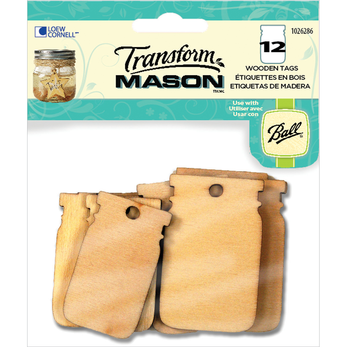 Transform Mason Wooden Tags, 12ct