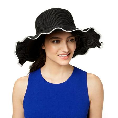 Nine West Womens Packable Ruffle-Brim Floppy Sun Hat (Black, One Size)