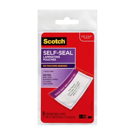 3m Scotch Pouch - 3M Scotch Self-Sealing Laminating Pouches, Bag Tags with Loops, Glossy, 5 Pouches (LS853-5G) - LS8535G