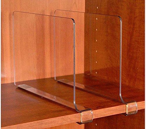 Closetmate Beautiful Acrylic Shelf Dividers Closet Shelves Organizer Seperators 2 Pack