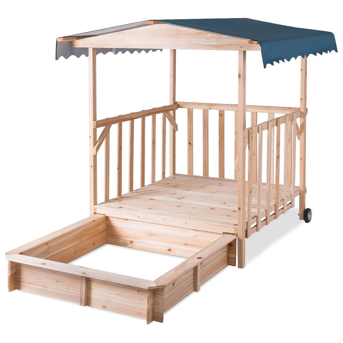 Outdoor Children Retractable Beach Cabana Sandbox with Canopy by