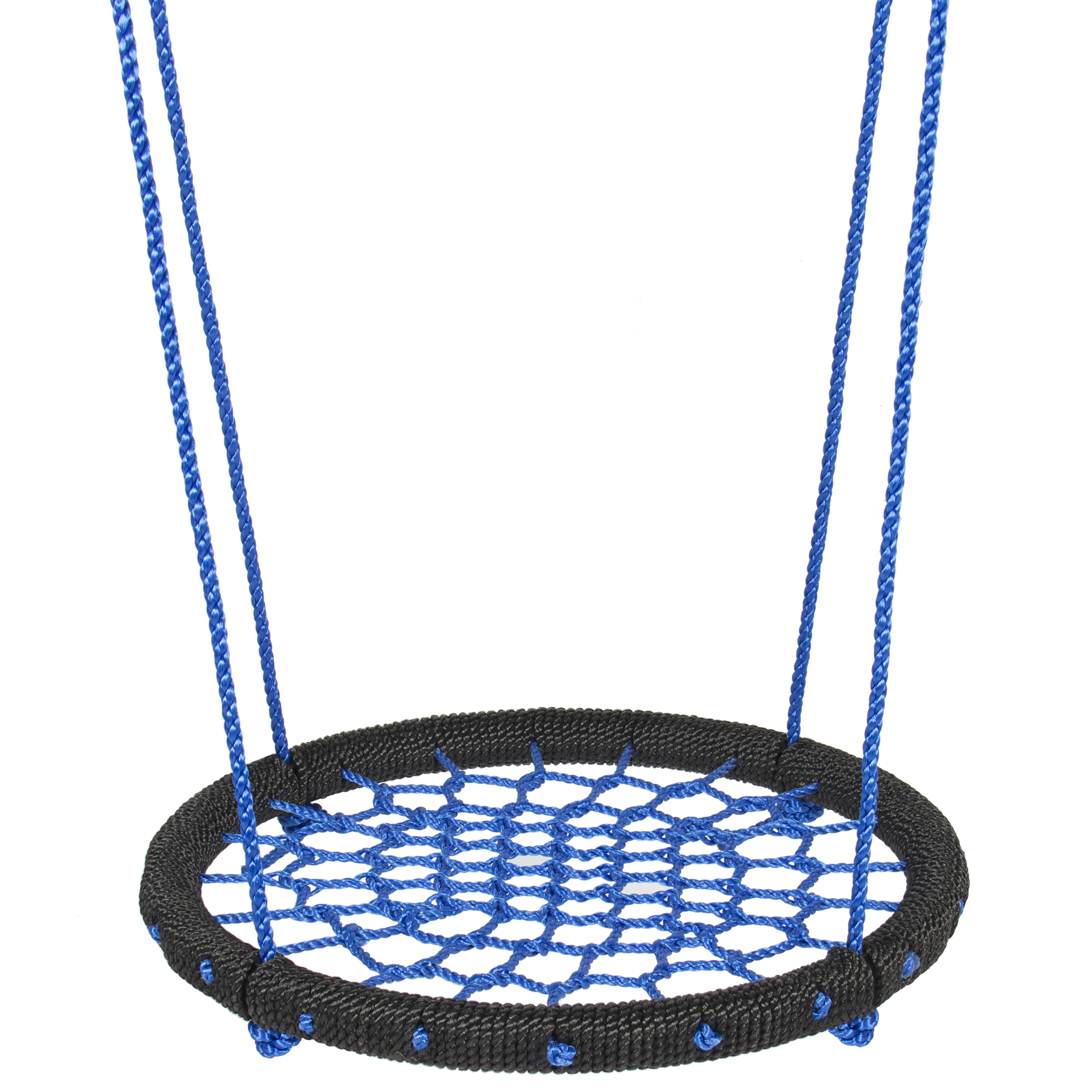 Best Choice Products 24in Web Swing Set w/ Nylon Net Rope for Tree Hanging, Outdoor Play, Playground - Blue/Black