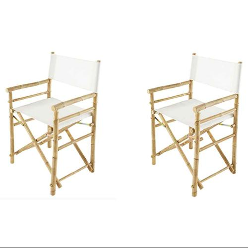 Foldable Directors Chair in Ivory - Set of 2