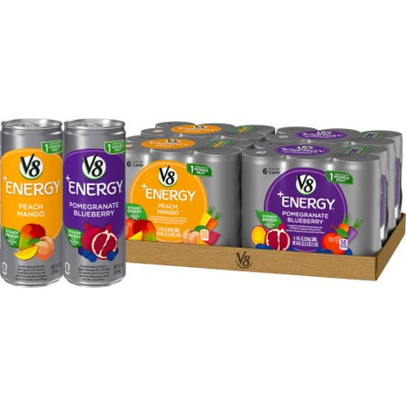 V8 +Energy Variety Pack, Healthy Energy Drink, Pomegranate Blueberry and Peach Mango, 8 Ounce Can (24 Count)