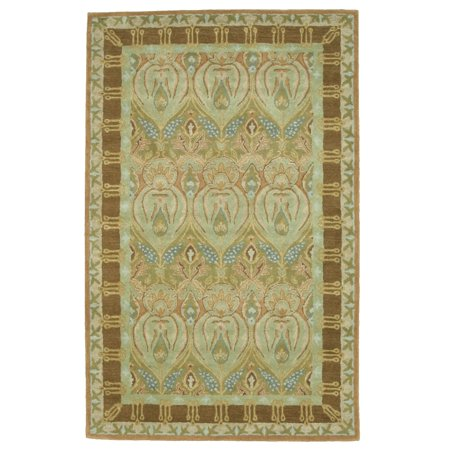Hand-tufted Wool Green Traditional Floral Morgan Rug ()