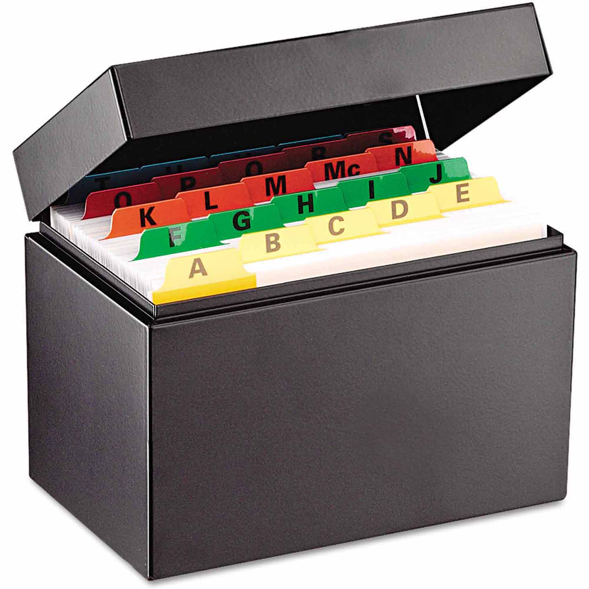 "SteelMaster Index Card File, Holds 400 4"" x 6"" cards"
