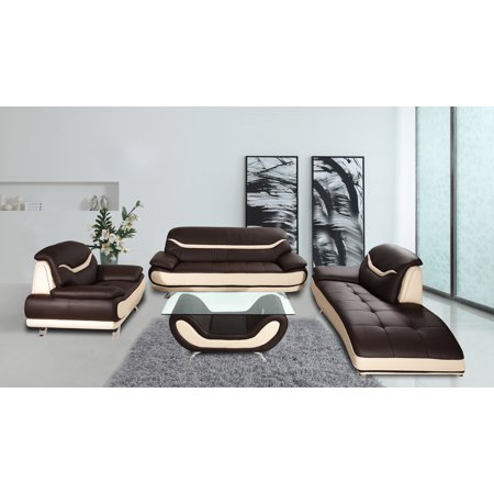 Ava 3 pc brown and beige faux leather modern living room for Ava chaise lounge