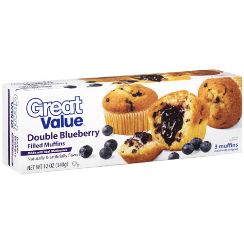 Great Value Double Blueberry Filled Muffins 3 Ct, 12 oz