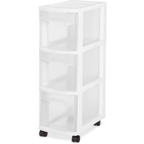 Sterilite 3 Drawer Narrow Cart- White, Set of 3